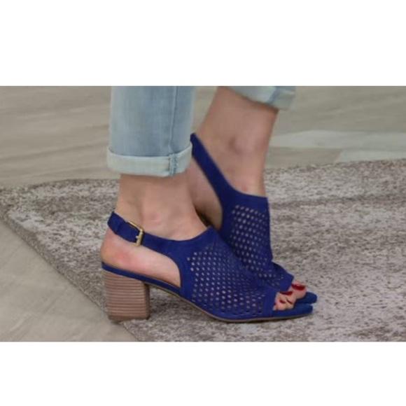 Franco Sarto Shoes - Franco Sarto Suede Leather Navy Mandi 2 Slingbacks